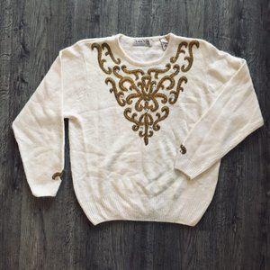 Karen Scott Ivory Gold Beading Silk Angora Sweater